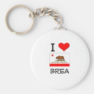 I Love BREA California Basic Round Button Key Ring