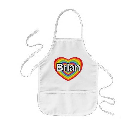 I love Brian: rainbow heart Apron