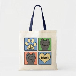I Love Briards Tote Bags