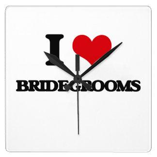 I Love Bridegrooms Square Wall Clocks