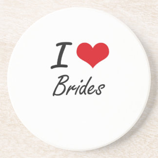 I Love Brides Artistic Design Drink Coasters