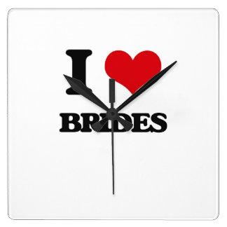I Love Brides Square Wallclocks