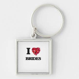 I Love Brides Silver-Colored Square Key Ring