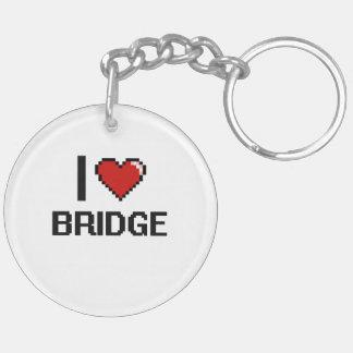 I Love Bridge Digital Retro Design Double-Sided Round Acrylic Key Ring