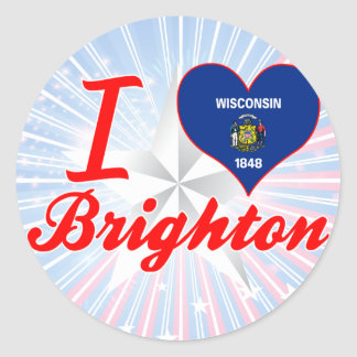 I Love Brighton, Wisconsin Round Stickers