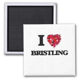 I Love Bristling Square Magnet