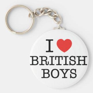I Love British Boys Basic Round Button Key Ring