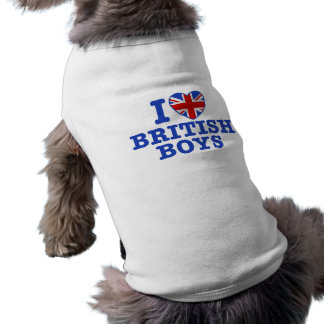 I Love British Boys Sleeveless Dog Shirt