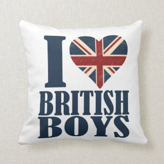 I Love British Boys Union Jack Throw Pillow