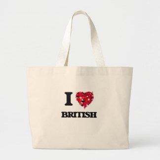 I Love British Jumbo Tote Bag