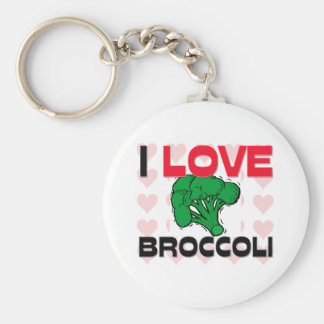I Love Broccoli Basic Round Button Key Ring