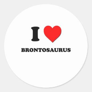 I Love Brontosaurus Round Stickers