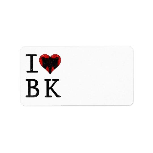 I Love Brooklyn, BK New York Address Label