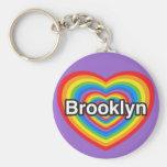 I love Brooklyn. I love you Brooklyn. Heart Basic Round Button Key Ring
