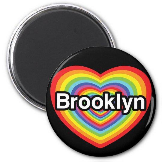 I love Brooklyn: rainbow heart 6 Cm Round Magnet