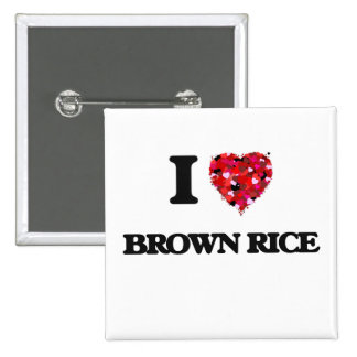 I Love Brown Rice food design 15 Cm Square Badge