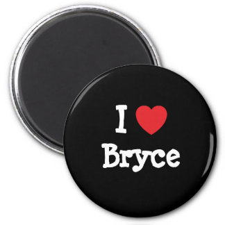 I love Bryce heart custom personalized 6 Cm Round Magnet