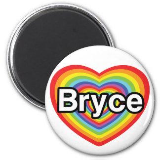 I love Bryce: rainbow heart 6 Cm Round Magnet