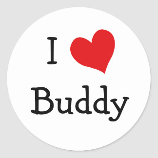 I Love Buddy Classic Round Sticker