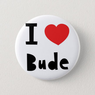 I love Bude 6 Cm Round Badge