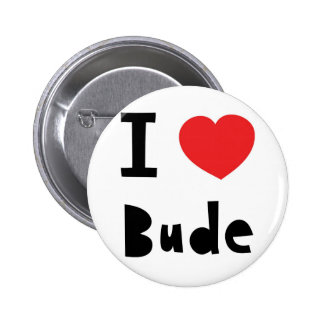 I love Bude 6 Cm Round Badge