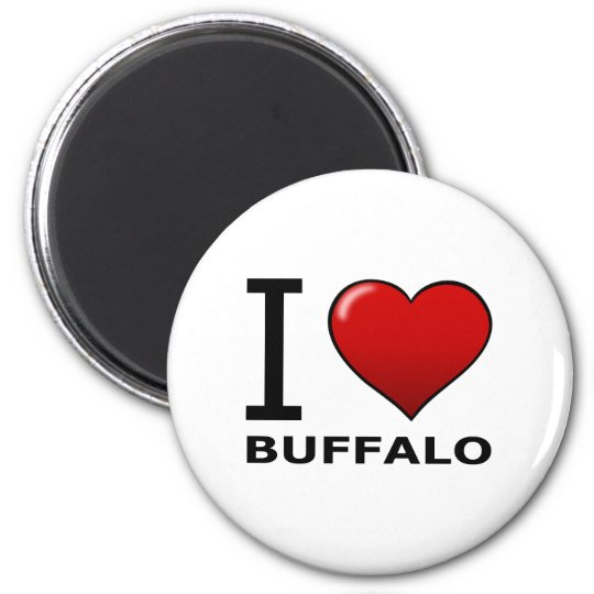I LOVE BUFFALO,NY - NEW YORK 6 CM ROUND MAGNET