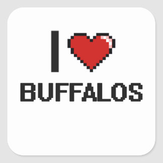 I love Buffalos Digital Design Square Sticker