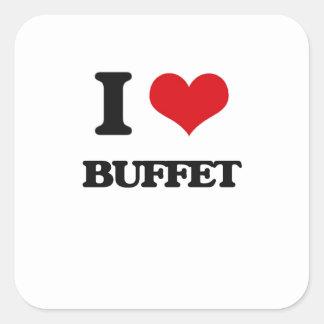 I Love Buffet Square Stickers