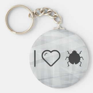 I Love Bugs Basic Round Button Key Ring