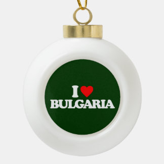 I LOVE BULGARIA CERAMIC BALL CHRISTMAS ORNAMENT