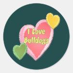 I Love Bulldogs Dog Heart Sticker