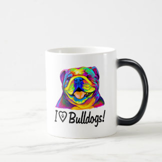 I Love Bulldogs in Colors Magic Mug