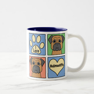 I Love Bullmastiffs Two-Tone Coffee Mug