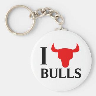 I Love Bulls Key Ring