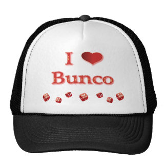 I Love Bunco in Red with red dice Cap