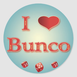 I Love Bunco in Red with red dice Classic Round Sticker