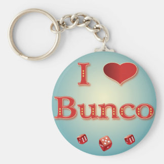 I Love Bunco in Red with red dice Key Ring