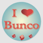 I Love Bunco in Red with red dice Round Sticker