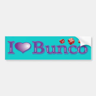I Love Bunco with Red Dice Bumper Sticker
