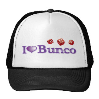 I Love Bunco with Red Dice Trucker Hats