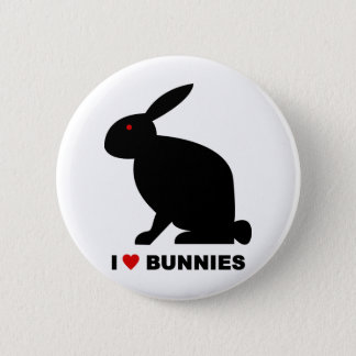 I Love Bunnies 6 Cm Round Badge