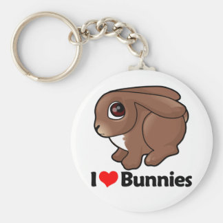 I Love Bunnies Basic Round Button Key Ring
