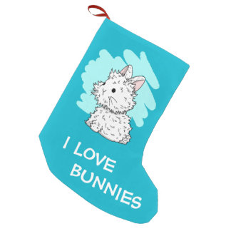 I love bunnies Christmas Stocking - Blue