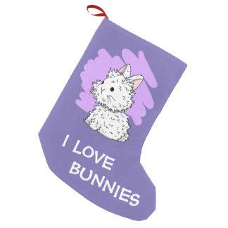 I love bunnies Christmas Stocking - Purple