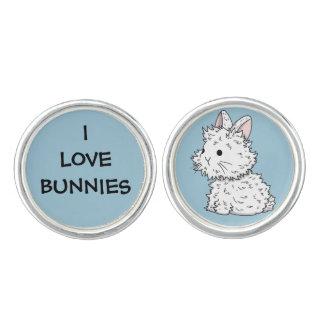 I love bunnies cufflinks - Colour of your choice