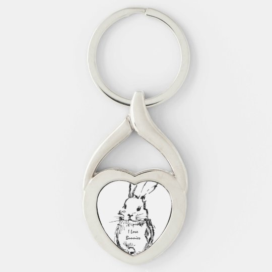 I Love Bunnies Key Ring