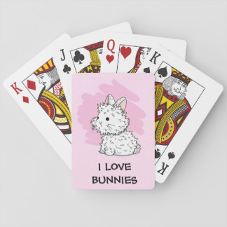 I love bunnies Playing cards - Pink