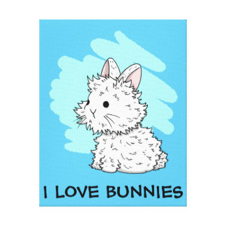 I love bunnies wrapped canvas - Blue