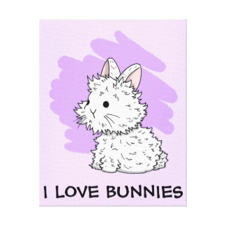 I love bunnies wrapped canvas - Lilac