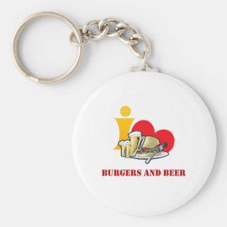 I Love Burgers and Beer Ah the Hamburger Key Chain